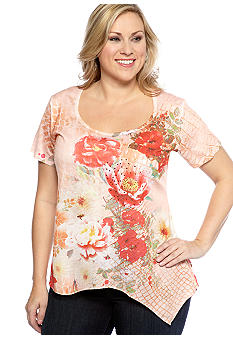 Jane Ashley Plus Size Floral Sharkbite Knit Top