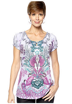 Jane Ashley Peasant Key Hole Sublime Purple Top