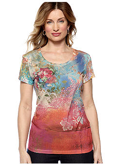 Jane Ashley Scoop Neck Sublime Rainbow Shirt