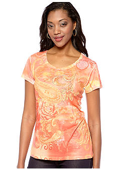 Jane Ashley Scoop Neck Sublime Melon Printed Tee