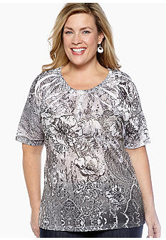 Jane Ashley Plus Size Printed Sublimation Knit Top