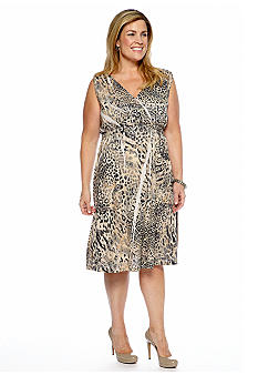 Jane Ashley Plus Size Scroll Animal Print Sublimation Dress