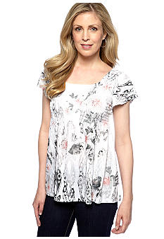 Jane Ashley Scoop Neck White and Black Peasant Top