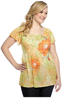 Jane Ashley Plus Size Stamped Floral Smocked Treatment Knit Top