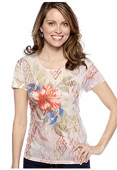 Jane Ashley Scoop Neck Embellished Print Top
