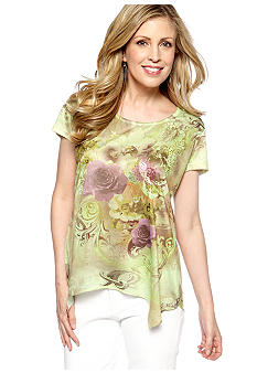 Jane Ashley Scoop Neck Hankerchief Bottom Tee