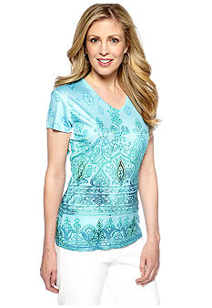 Jane Ashley V-Neck Printed Tee