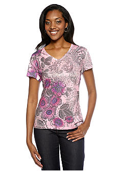 Jane Ashley Multi Print V-Neck