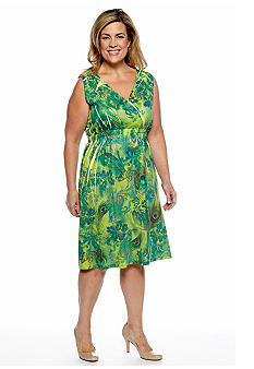 Jane Ashley Plus Size Peacock Feather Sublimation Dress