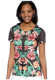 Jane Ashley Scoop Neck Floral Tee
