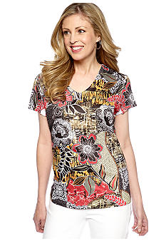 Jane Ashley Printed V-Neck Tee