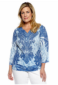Jane Ashley Plus Size Studded Paisley Sublimination Knit Top