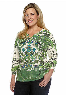 Jane Ashley Plus Size Studded Floral Sublimination Knit Top