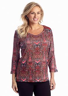 Jane Ashley Plus Size V-Neck Ombre Top