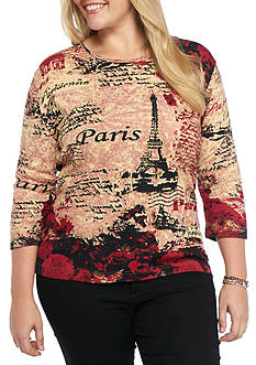 Kim Rogers Plus Size Parisian Printed Top