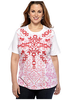 Jane Ashley Plus Size Tribal Front Short Sleeve Tee