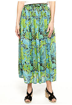 Jane Ashley Jade Print Broomstick Skirt
