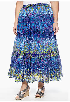 Jane Ashley Plus Size Watercolor Dot Tiered Long Skirt