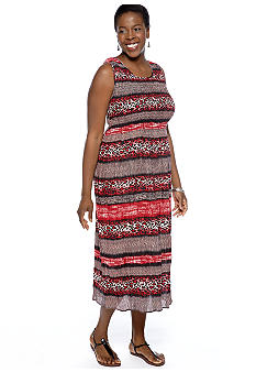 Jane Ashley Plus Size Printed Smocked Dress