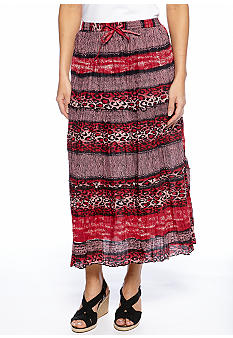 Jane Ashley Petite Tiered Stripe Animal Print Maxi Skirt