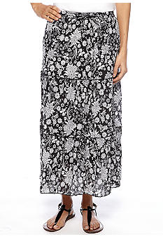 Jane Ashley Petite Tiered Printed Skirt