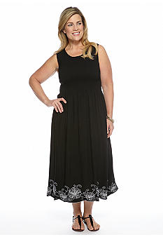 Jane Ashley Plus Size Smocked Floral Border Embroidered Dress