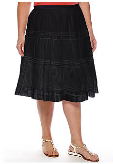 Jane Ashley Plus Size Short Pintuck Tiered Skirt