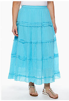 Jane Ashley Plus Size Long Pintuck Tiered Skirt