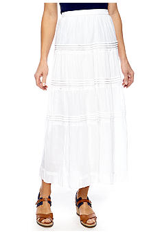 Jane Ashley Solid Maxi Skirt With Pleats