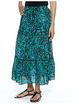 Jane Ashley Petite Printed Tiered Maxi Skirt