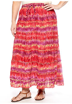 Jane Ashley Plus Size Printed Tiered Long Crinkle Skirt