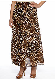 Jane Ashley Plus Size Animal Print Tiered Maxi Skirt