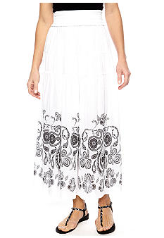 Jane Ashley Three Tier Solid Skirt With Printed Bottom