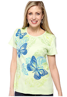 Jane Ashley Butterfly Print Top
