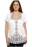 Kim Rogers® Plus Size Embellished Square Neck Crinkle Top