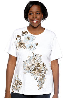 Jane Ashley Plus Size Asymmetrical Floral Slub Tee