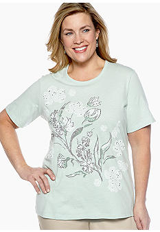 Jane Ashley Plus Size Floral Front Slub Tee