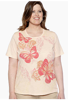 Jane Ashley Plus Size Butterfly Slub Tee
