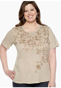 Jane Ashley Plus Size Floral Yoke Slub Tee
