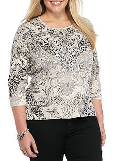 Jane Ashley Plus Size Scroll Printed Top