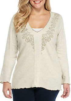 Jane Ashley Plus Size Embroidered Thermal Knit Top