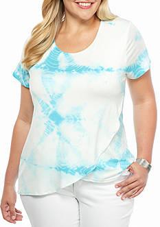 Jane Ashley Plus Size Tie Dye Surplice Knit Top