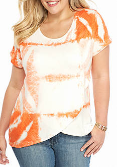 Jane Ashley Plus Size Tie Dye Surplice Knit Top