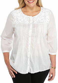 Jane Ashley Plus Size Embroidered Woven Top