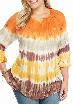 Jane Ashley Plus Size Peasant Tie Dye Top