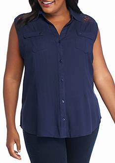 Jane Ashley Plus Size Sleeveless Lace Yoke Woven Top