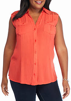 Jane Ashley Plus Size Sleeveless Lace Yoke Woven Top