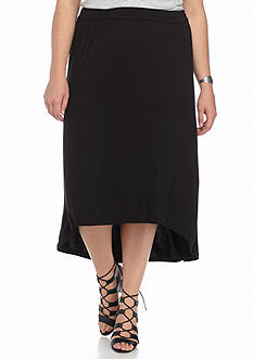 Jane Ashley Plus Size Solid High-Low Skirt