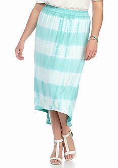 Jane Ashley Plus Size Tie Dye Stripe Skirt