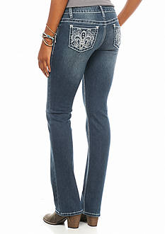 Earl Jean Fleur Bling Pocket Boot Cut Jean